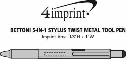 Imprint Area of Bettoni 5-in-1 Stylus Twist Metal Tool Pen