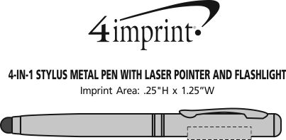 Imprint Area of 4-in-1 Stylus Metal Pen with Laser Pointer and Flashlight