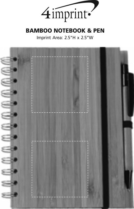 Imprint Area of Bamboo Notebook & Pen