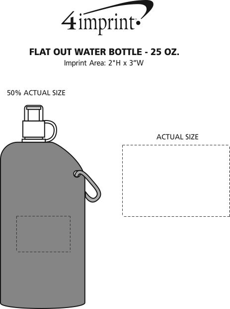 Imprint Area of Flat Out Water Bottle - 25 oz.