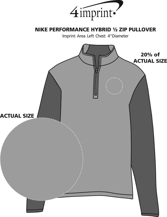 Imprint Area of Nike Performance Hybrid 1/2-Zip Pullover