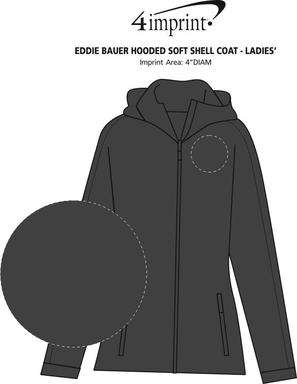 Imprint Area of Eddie Bauer Hooded Soft Shell Coat - Ladies'