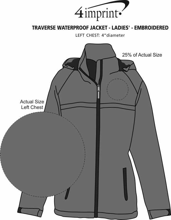 Imprint Area of Traverse Waterproof Jacket - Ladies' - Embroidered