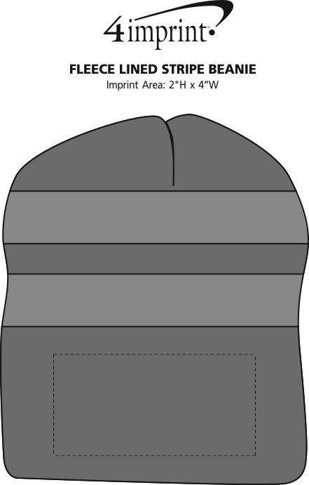 Imprint Area of Fleece Lined Stripe Beanie