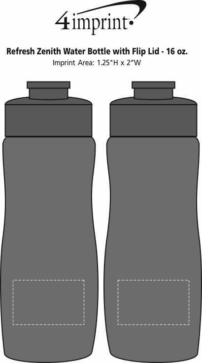 Imprint Area of Refresh Zenith Water Bottle with Flip Lid - 16 oz.