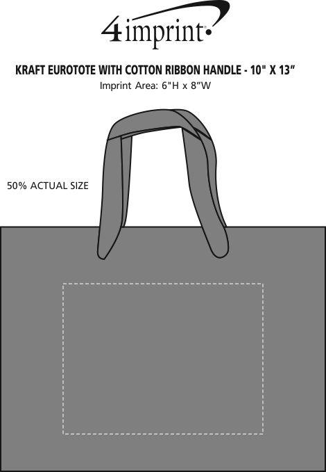 "Imprint Area of Kraft Eurotote with Cotton Ribbon Handle - 10"" x 13"""