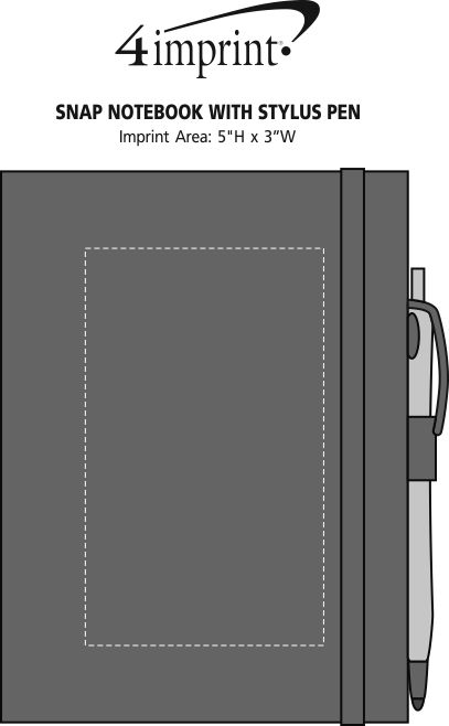 Imprint Area of Snap Notebook with Stylus Pen