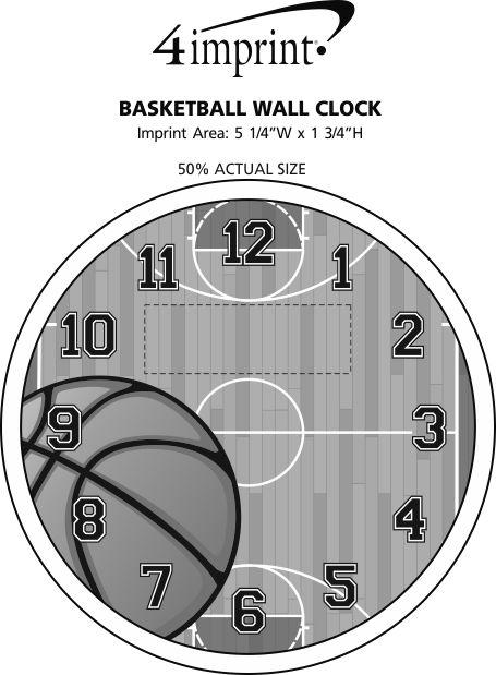 Imprint Area of Basketball Wall Clock