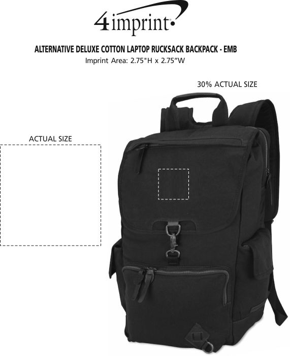 Imprint Area of Alternative Deluxe Cotton Laptop Rucksack Backpack - Embroidered