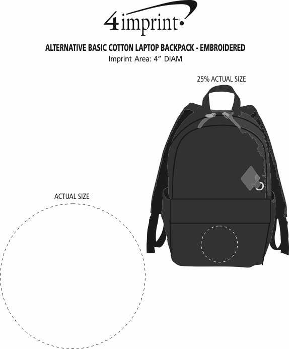 Imprint Area of Alternative Basic Cotton Laptop Backpack - Embroidered