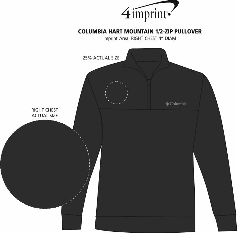 Imprint Area of Columbia Hart Mountain 1/2-Zip Pullover