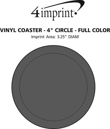 "Imprint Area of Vinyl Coaster - 4"" Circle - Full Color"