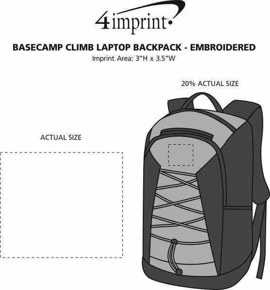 Imprint Area of Basecamp Climb Laptop Backpack - Embroidered