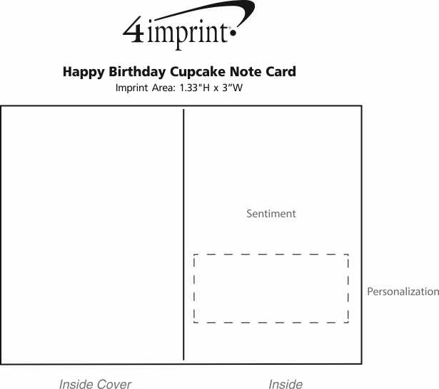 Imprint Area of Happy Birthday Cupcake Note Card