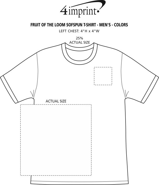 Imprint Area of Fruit of the Loom Sofspun T-Shirt - Men's - Colors