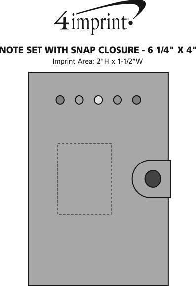 """Imprint Area of Note Set with Snap Closure - 6-1/4"""" x 4"""""""
