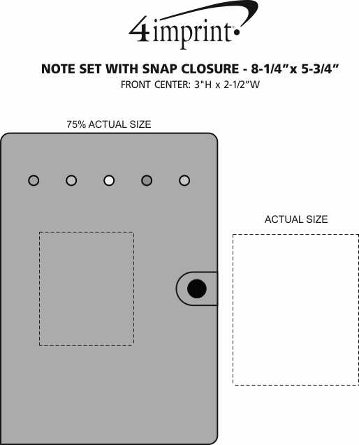 "Imprint Area of Note Set with Snap Closure - 8-1/4"" x 5-3/4"""