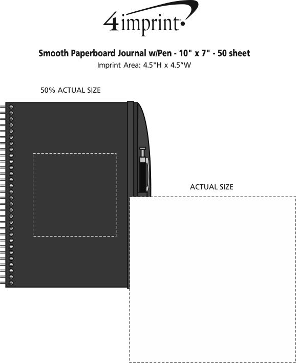 """Imprint Area of Smooth Paperboard Journal with Pen- 10"""" x 7"""" - 50 sheet"""