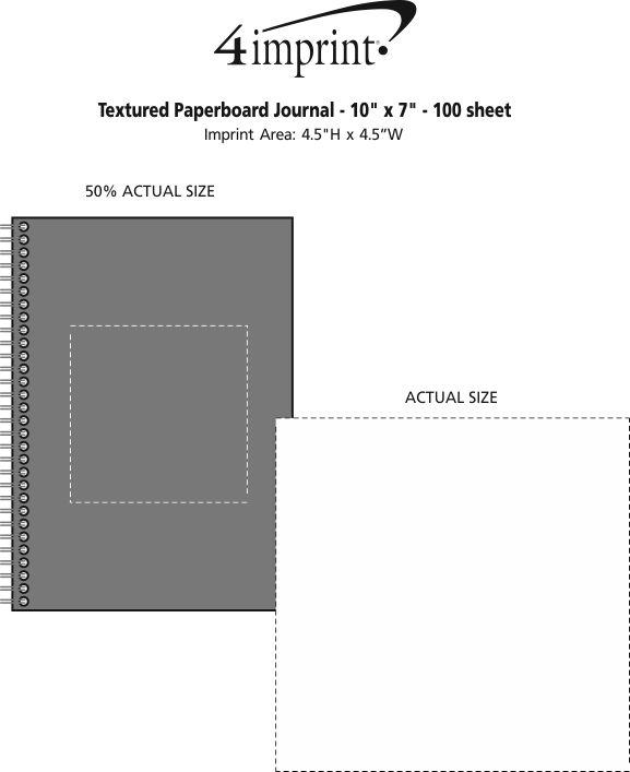 "Imprint Area of Textured Paperboard Journal - 10"" x 7"" - 100 sheet"
