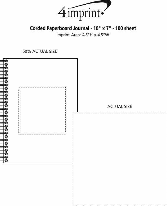 """Imprint Area of Corded Paperboard Journal - 10"""" x 7"""" - 100 sheet"""