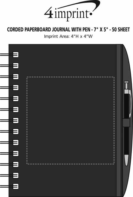 """Imprint Area of Corded Paperboard Journal with Pen - 7"""" x 5"""" - 50 sheet"""