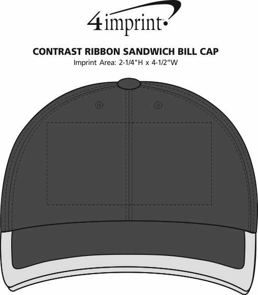 Imprint Area of Contrast Ribbon Sandwich Bill Cap