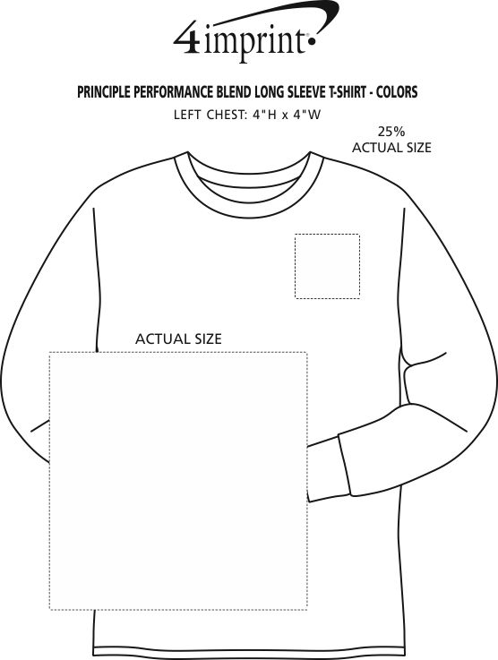 Imprint Area of Principle Performance Blend Long Sleeve T-Shirt - Colors