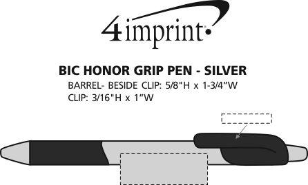 Imprint Area of Bic Honor Grip Pen - Silver