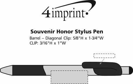 Imprint Area of Bic Honor Stylus Grip Pen - Silver