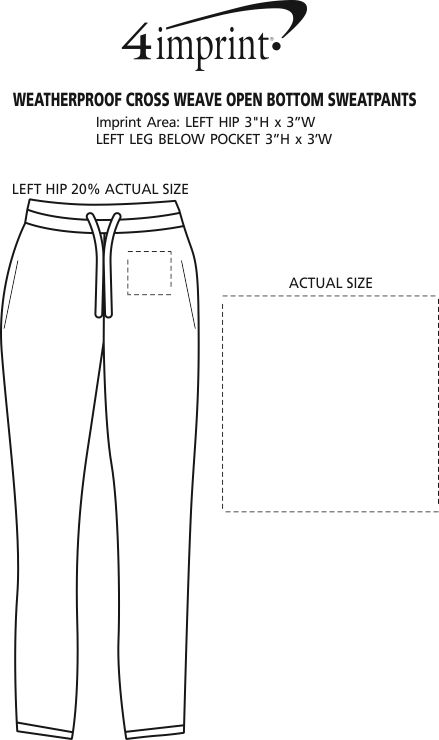 Imprint Area of Weatherproof Cross Weave Open Bottom Sweatpants