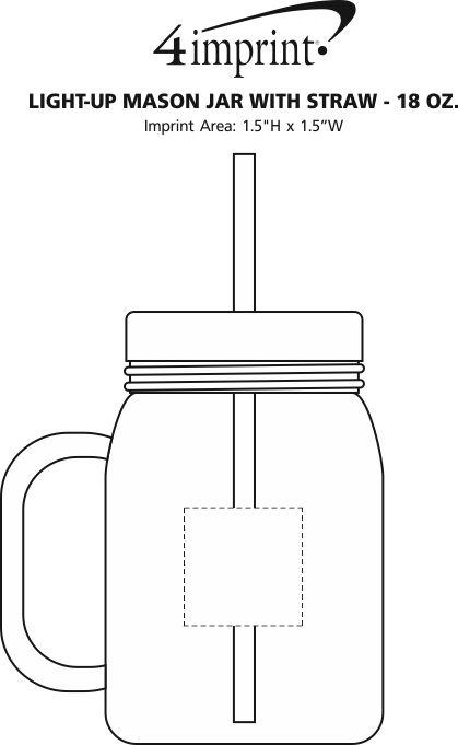 Imprint Area of Light-Up Mason Jar with Straw - 18 oz.