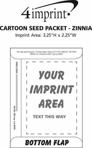 Imprint Area of Cartoon Seed Packet - Zinnia