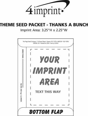 Imprint Area of Theme Seed Packet - Thanks a Bunch