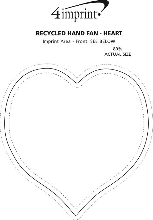 Imprint Area of Kraft Back Hand Fan - Heart