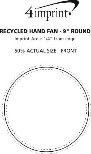 "Imprint Area of Kraft Back Hand Fan - 8"" Round"