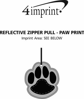 Imprint Area of Reflective Zipper Pull - Paw Print