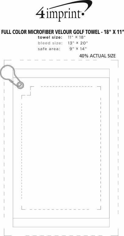"Imprint Area of Full Color Microfiber Velour Golf Towel - 18"" x 11"""