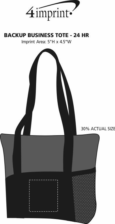 Imprint Area of Backup Business Tote - 24 hr