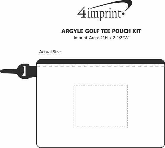 Imprint Area of Argyle Golf Tee Pouch Kit