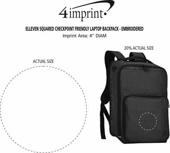Imprint Area of elleven Squared Checkpoint Friendly Laptop Backpack - Embroidered