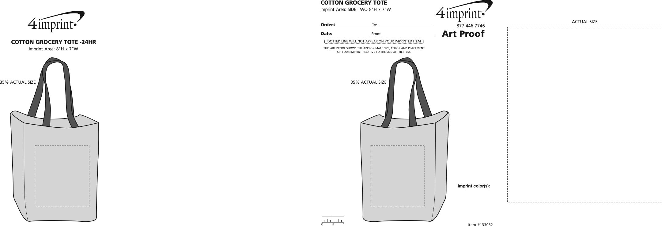 Imprint Area of Cotton Grocery Tote - 24 hr