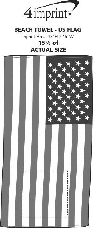 Imprint Area of Beach Towel - US Flag