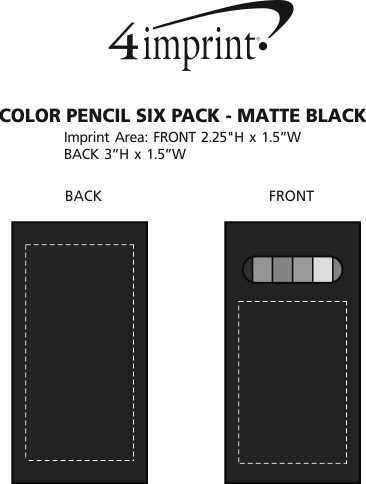 Imprint Area of Color Pencil Six Pack - Matte Black