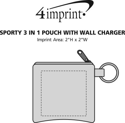 Imprint Area of Sporty 3-in-1 Pouch with Wall Charger