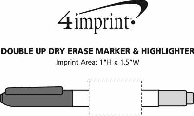 Imprint Area of Double Up Dry Erase Marker & Highlighter