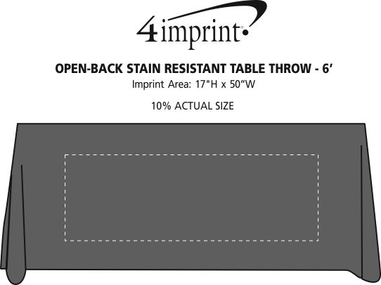 Imprint Area of Serged Open-Back Stain Resistant Table Throw - 6'