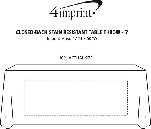 Imprint Area of Serged Closed-Back Stain Resistant Table Throw - 6'