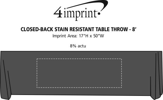 Imprint Area of Serged Closed-Back Stain Resistant Table Throw - 8'