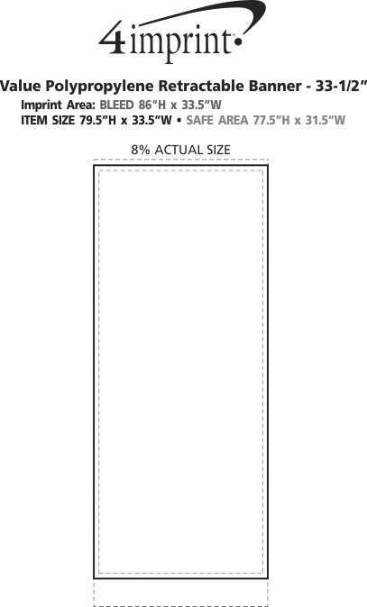 "Imprint Area of Value Polypropylene Retractable Banner - 33-1/2"""