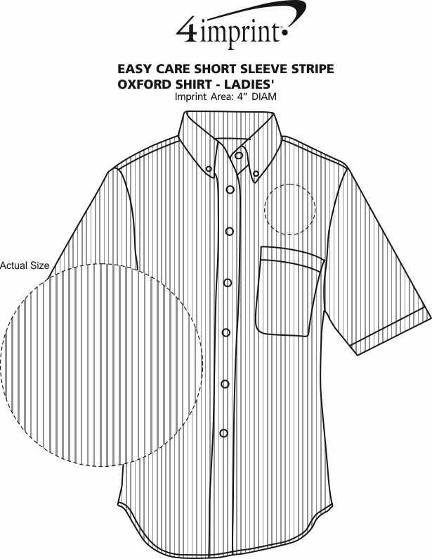 Imprint Area of Easy Care Short Sleeve Stripe Oxford Shirt - Ladies'